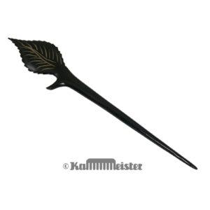 Haarnadel Haarstab 1-zinkig - schwarzes Büffelhorn - Dekor spitzes Blatt