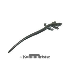 Haarnadel 1-zinkig aus schwarzem Büffelhorn - Gecko - Echse