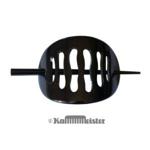 Haarspange mit Nadel aus Horn - Klassische Schild Form schwarz