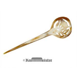 Haarnadel Haarstab 1-zinkig - helles Horn - Dekor Blüte Blume