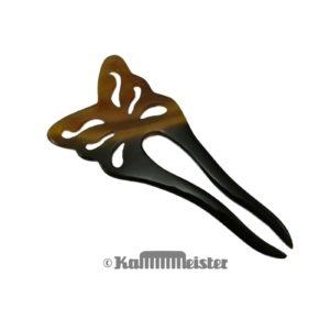 Haarnadel 2-zinkig aus meliertem Büffelhorn - Dekor Schmetterling