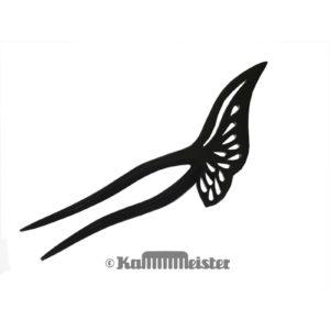 Haarnadel 2-zinkig aus schwarzem Büffelhorn - Dekor Schmetterling