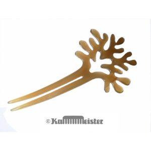 Haarnadel 2-zinkig aus hellem Horn - Dekor Baum