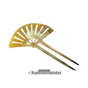 Haarnadel Haarstab 2-zinkig - helles Horn - Fächer im Stil des Art Deco