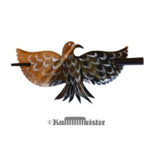 Haarspange mit Nadel aus Horn - Dekor Vogel