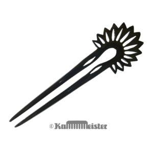 Haarnadel 2-zinkig aus schwarzem Büffelhorn - Kaktusblüte