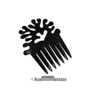 Steckkamm aus schwarzem Horn Büffelhorn - Dekor Baum
