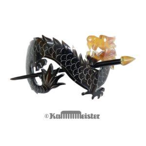 Haarspange mit Nadel aus Horn - Dekor Drache
