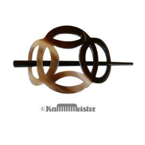 Haarspange mit Nadel aus Horn - Dekor Ringe