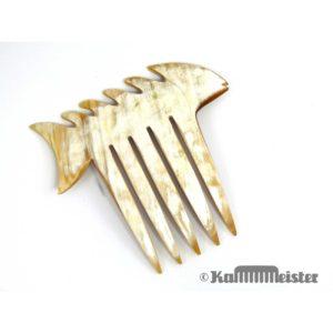 Steckkamm aus weißem Horn vom Watussi Rind - Fishbone - Fisch
