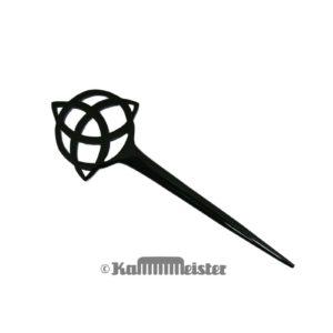 Haarnadel Haarstab 1-zinkig - schwarzes Büffelhorn - Dekor Triqueta Knoten