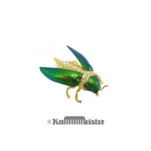 Brosche mit Nadel geöffnete Flügel mit Strass - Sternocera Prachtkäfer