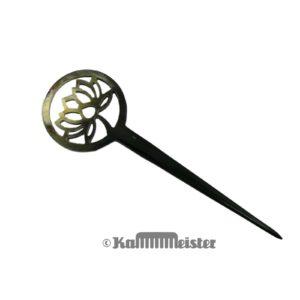 Haarnadel Haarstab 1-zinkig - schwarz meliertes Horn - Dekor Lotos Blüte