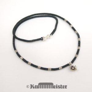 Makramee Kette - schwarz - Hill Tribe Silber - Blüte - 47 cm lang