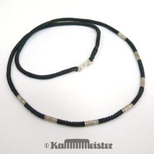 Makramee Kette - schwarz - Hill Tribe Silber - ohne Anhänger - 49 cm lang