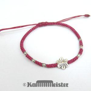 Makramee Armband - bordeauxrot - Blüte - Silber - Schiebeknoten