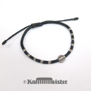 Makramee Armband - schwarz - Spirale - Silber - Schiebeknoten