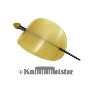 Haarspange mit Nadel aus transparentem Horn - Klassische ovale Schild Form