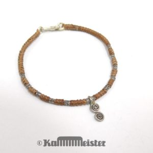 Makramee Armband - beige - Spirale - Silber - Hakenverschluss