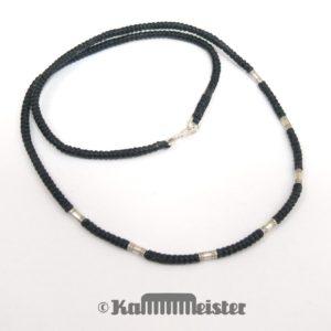 Makramee Kette - schwarz - Hill Tribe Silber - ohne Anhänger - 48 cm lang