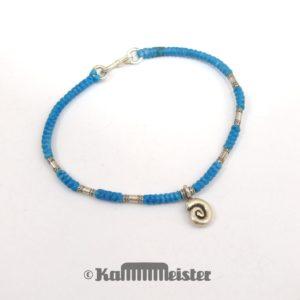 Makramee Armband - türkis - Spirale - Silber - Hakenverschluss