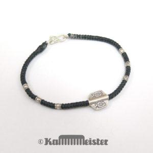 Makramee Armband - schwarz - Fisch - Silber - Hakenverschluss