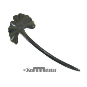 Haarnadel Haarstab 1-zinkig - schwarzes Büffelhorn - Dekor Ginko Blatt