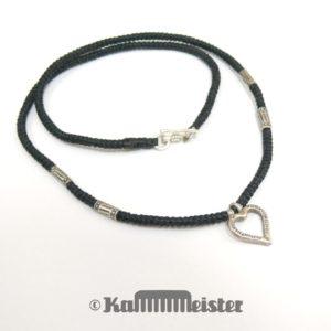 Makramee Kette - schwarz - Hill Tribe Silber - offenes Herz - 44 cm lang