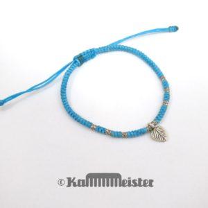 Makramee Armband - türkis - Herz Blatt - Silber - Schiebeknoten