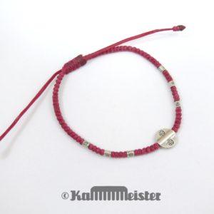 Makramee Armband - bordeaux rot - Blüten Scheibe - Silber - Schiebeknoten