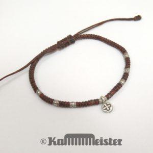 Makramee Armband - braun - Kreuz - Silber - Schiebeknoten