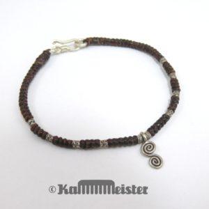 Makramee Armband - braun - Spirale - Silber - Hakenverschluss