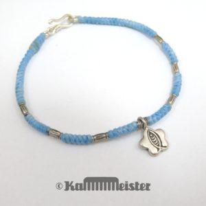 Makramee Armband - pastell blau - Fisch - Silber - Hakenverschluss
