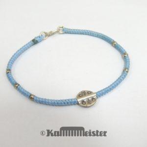 Makramee Armband - pastell blau - Kreise Stern - Silber - Hakenverschluss
