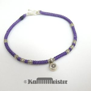 Makramee Armband - violett - Auge Nazar - Silber - Hakenverschluss