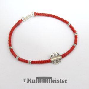 Makramee Armband - blaßrot - Stern Scheibe - Silber - Hakenverschluss