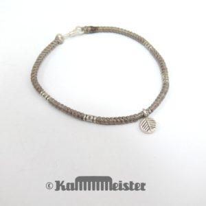 Makramee Armband - olivbraun - Blatt - Silber - Hakenverschluss