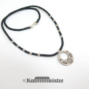 Makramee Kette - schwarz - Hill Tribe Silber - Fisch & Sonne - 46,5 cm lang