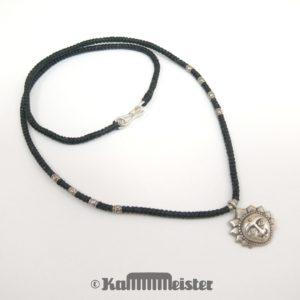 Makramee Kette - schwarz - Hill Tribe Silber - Sonnengesicht - 48,5 cm lang