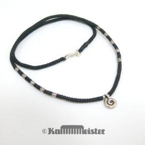 Makramee Kette - schwarz - Hill Tribe Silber - Spirale - 45,5 cm lang