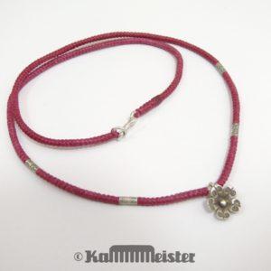 Makramee Kette - bordeauxrot - Hill Tribe Silber - Blüte - 49,5 cm lang