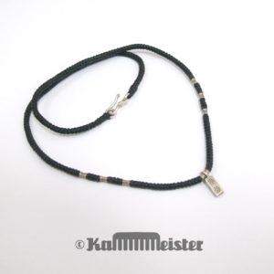 Makramee Kette - schwarz - Hill Tribe Silber - Barren mit Blüte - 44 cm lang