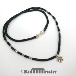 Makramee Kette - schwarz - Hill Tribe Silber - stilisierte Blüte - 45 cm lang