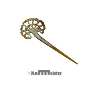 Haarnadel Haarstab 1-zinkig - gerade - helles Horn - Dekor Blüte - Blume