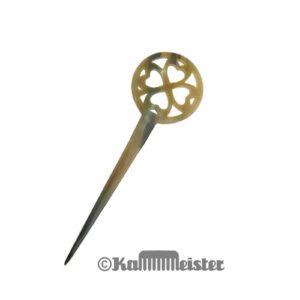 Haarnadel Haarstab 1-zinkig - meliertes Horn - Dekor Kleeblatt