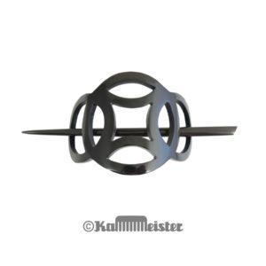 Haarspange mit Nadel aus schwarzem Horn - Dekor Ringe