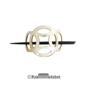 Haarspange mit Nadel aus hellem Horn - Dekor Ringe