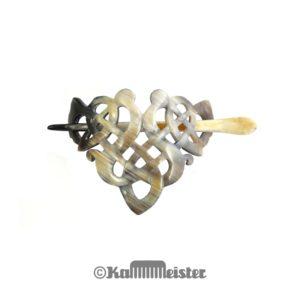 Haarspange mit Nadel aus smeliertem Horn - Dekor Knoten