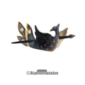 Haarspange mit Nadel aus Horn - Dekor Phönix - Perlmutt