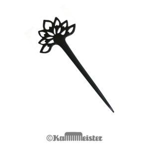 Haarnadel Horn 1-zinkig aus schwarzem Büffelhorn - Dekor Lotosblüte